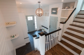 mudroom stairs with lighting, in Garage Addition, Hingham Ma